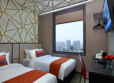 Lavender Area Superior Twin (City View) rooms at Hotel Boss