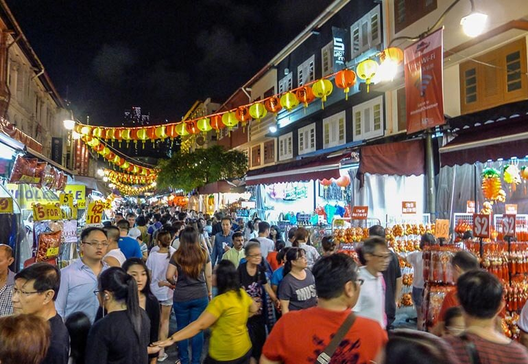 Chinese New Year Crowd in Chinatown Singapore
