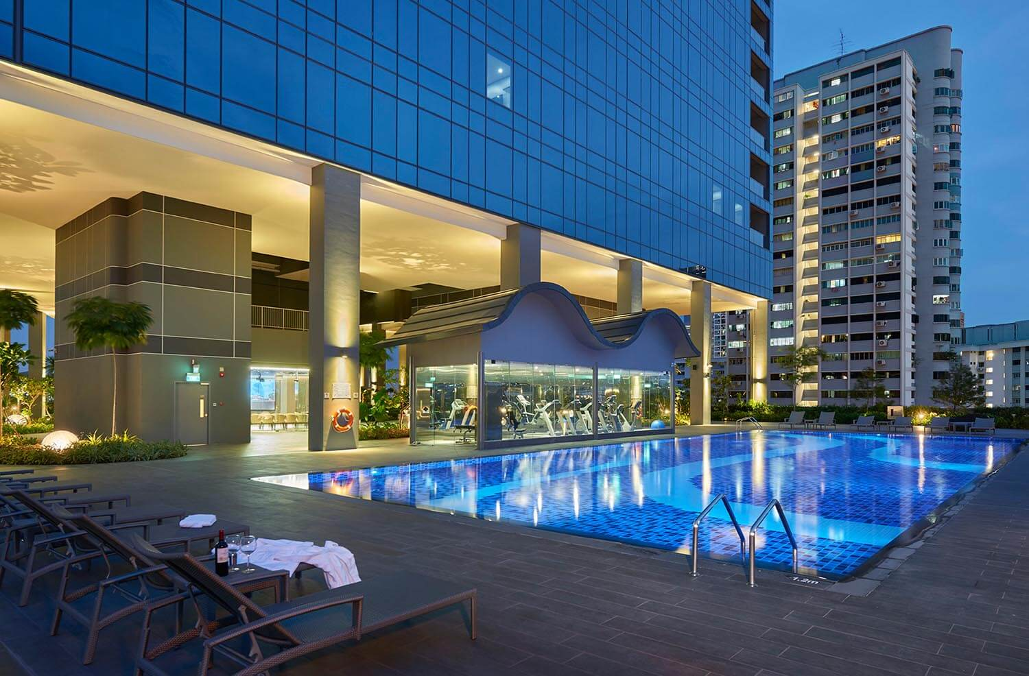 Hotel Boss Sky terrace and swimming pool with gym